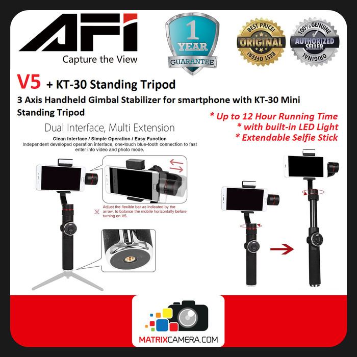 Foto Produk AFI V5 3-axis Gimbal Stabilizer with LED & Mini Tripod for smartphone dari MatrixCamera