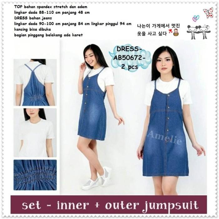 a029e65401 Jual Setelan Baju Overall Mini Dress Denim Jumpsuit Wanita Import ...