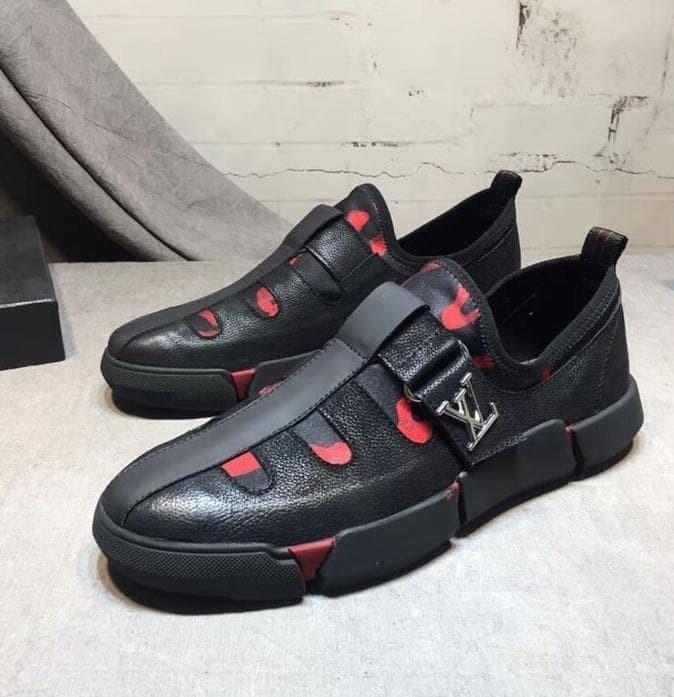 Mjk Sepatu Sneakers Pria Kulit Asli Louis Vuitton Mirror Original
