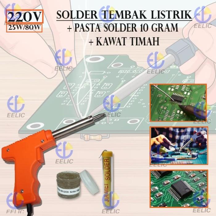 EELIC SOR-A008 ORANGE MIX2 Solder Tembak 80W + Pasta Solder SP-10 GRAM