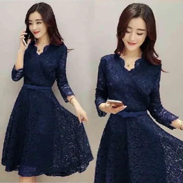 harga Dress pendek brukat / mini dress blue navy brokat shaby lace vintage Tokopedia.com