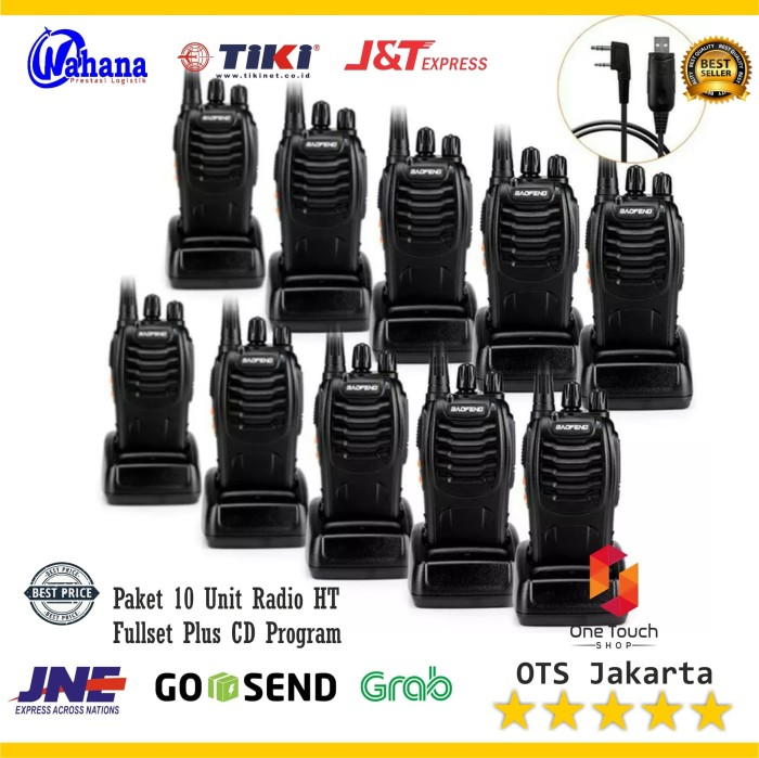 harga Paket 10 unit radio ht handy talky wakie talkie baofeng bf 888s + cd Tokopedia.com