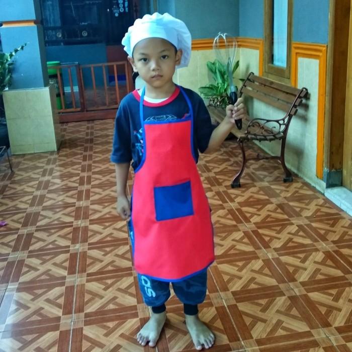 Jual Set Celemek Apron Topi Koki Chef Anak - ALNewshop  cdf88f150b