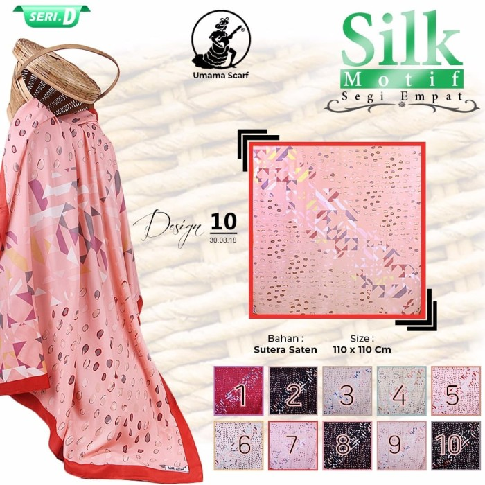 Jilbab segi empat satin silk motif bunga umama - seri : 10