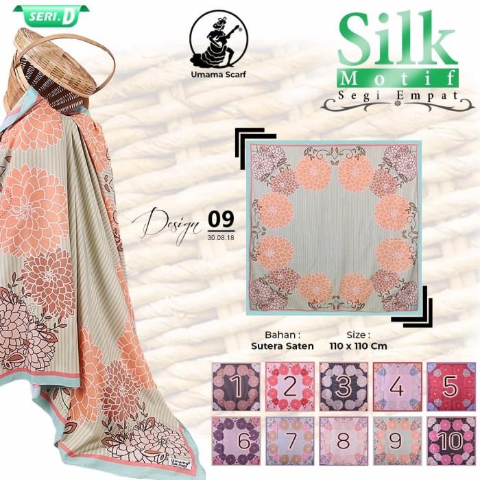 Jilbab segi empat satin silk motif bunga umama - seri : 09