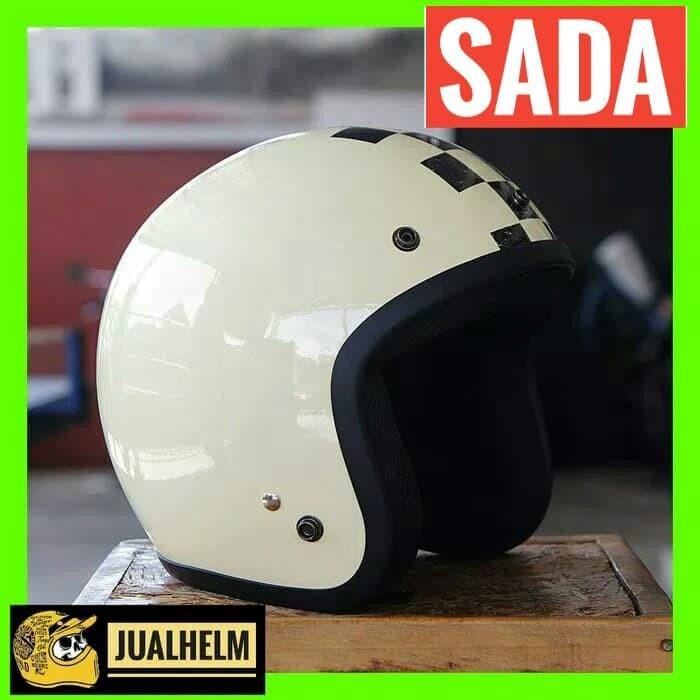 harga Helm sada cream glossy - helm retro - helm classic Tokopedia.com