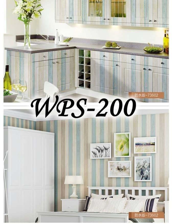 Foto Produk WALLPAPER STICKER WPS200 WOOD LIST BLUE WALPAPER STIKER DINDING dari radja dinding