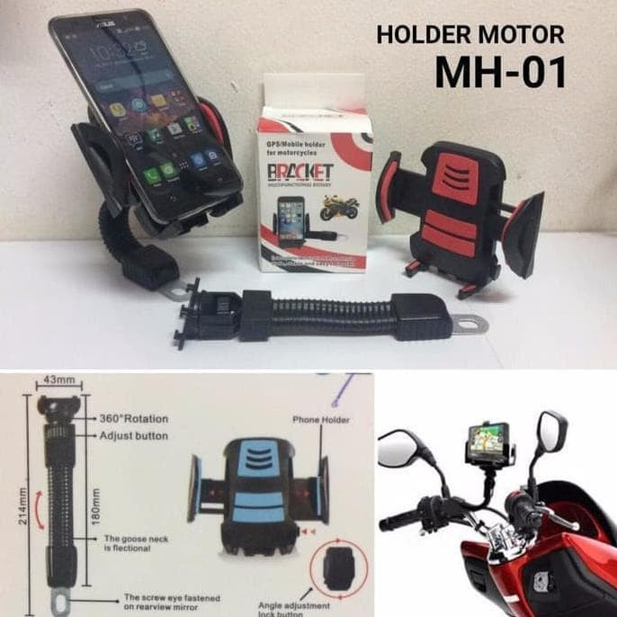 Jepit Spion motor / GPS Phone Holder for Motorcycles Hitam. Source ·