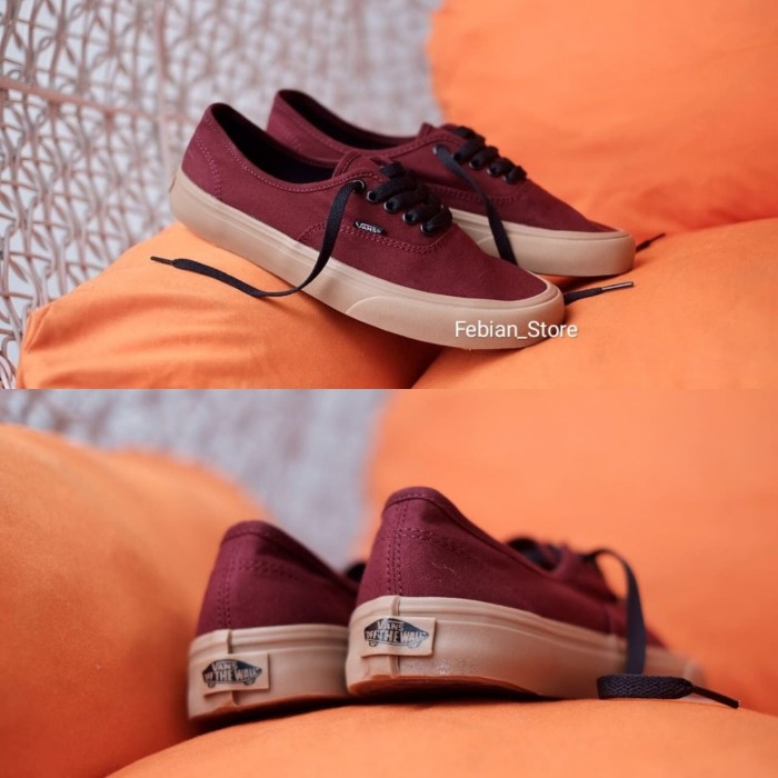 100% Premium Sepatu Vans Authentic Maroon Gum Import Made in China