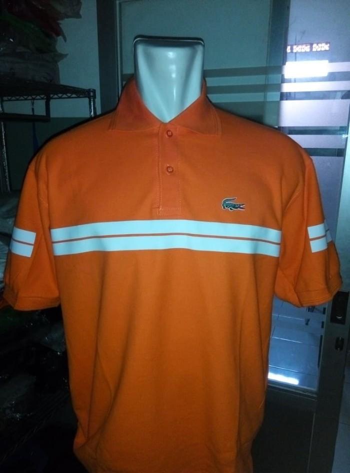 Jual polo shirt kaos kerah lacoste strip big size jumbo - Putih b51d098578