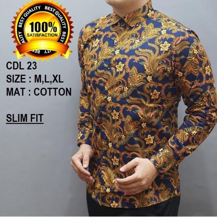 ... Baju Batik Pria Slim Fit Modern Lengan Panjang D242 - Blanja.com ... 478415e3d4