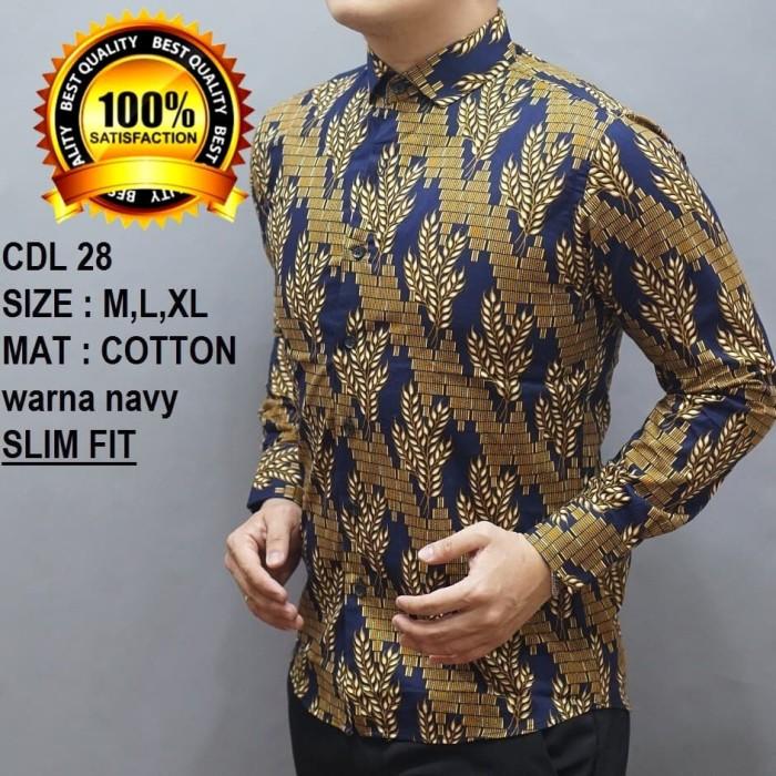 ... Baju Batik Pria Slim Fit Modern Lengan Panjang D242 - Blanja.com a06234ebaf