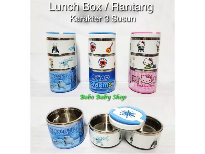R02 Rantang 3 Susun Karakter / Lunch Box / kotak makan Stainless Steel
