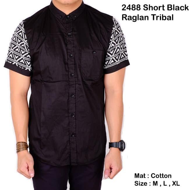 kemeja pria lengan pendek batik songket hitam slimfit / baju batik - Hitam, M