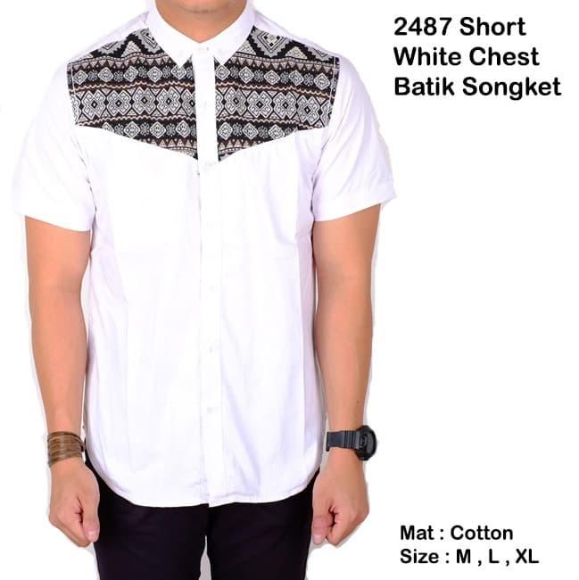 kemeja batik pria lengan pendek / batik songket cowok / baju batik - Putih, M