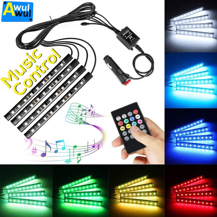 harga 4pcs lampu kolong dashboard led rgb sensor suara dengan remote control Tokopedia.com