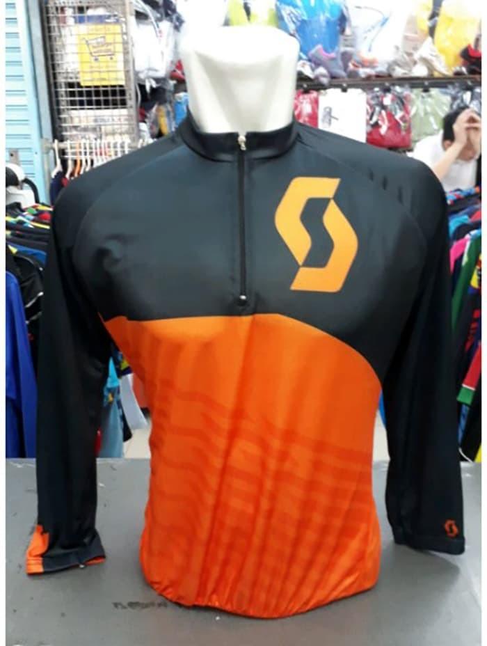 Baju Sepeda Scott Lengan Panjang Hitam Orange