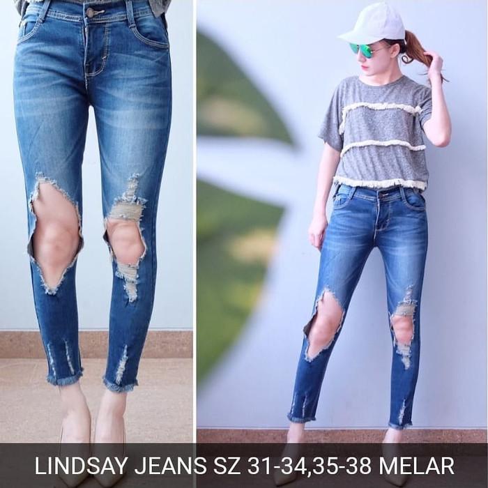 Jual Celana Jeans Sobek Tembus Lindsay Ripped Jeans Wanita Kekinian Murah Biru 30 Jakarta Selatan Magdalena Store Tokopedia