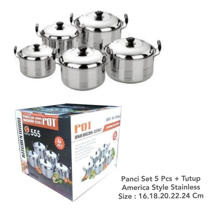 Panci Set 5 Pcs american style high pots Stainless / cookware set 5pcs