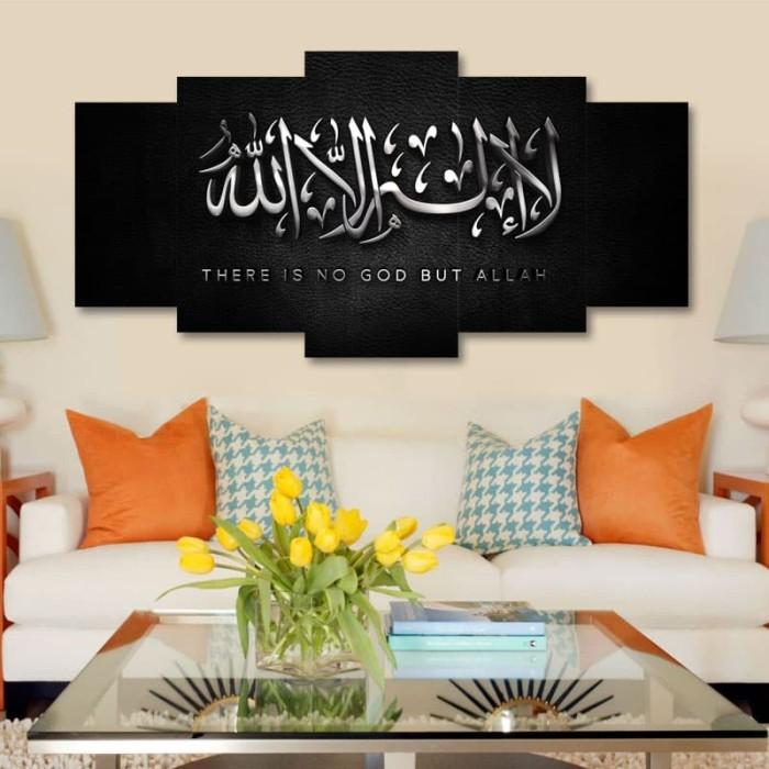 Jual Wall Art Hiasan Dinding Kaligrafi Kalimat Tauhid 5 Panel Kab Sukabumi Stepluck Store Tokopedia