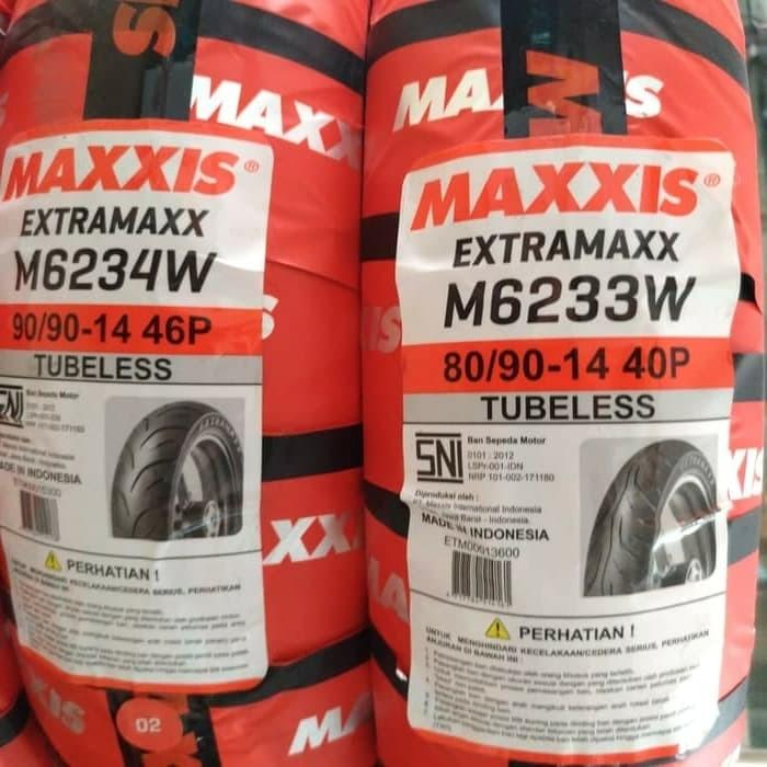 Foto Produk 1 Paket Ban Tubeless Maxxis EXTRAMAXX 80/90-14 dan 90/90-14 Termurah.. dari Sumber Jaya Motor