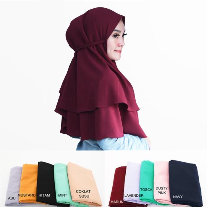 Hijab Instan Bella Khimar 2 layer Jilbab Bergo Instan Kerudung