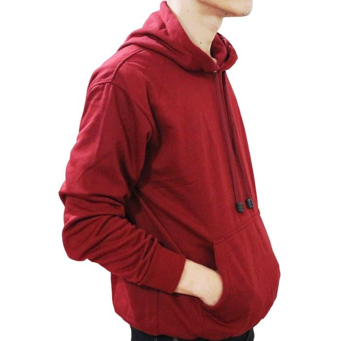 Jual Sweater Pria Jaket Sweater Hoodie Polos Jumper Merah Maroon ... aa9619bc53