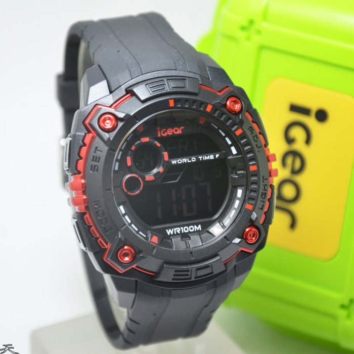 iGear Watch Digital- i19 Black - Jam Tangan Sport Pria - Rubber Strap