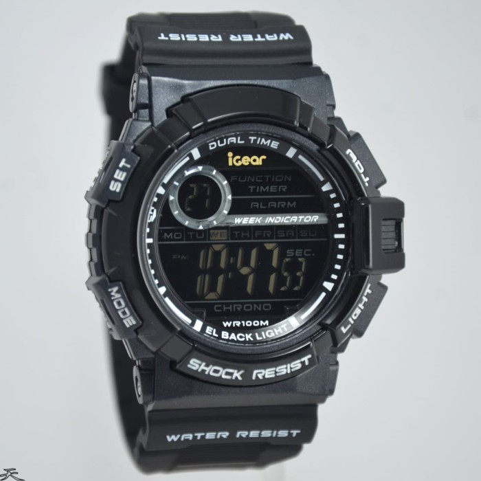 iGear Watch Digital- i20 Black - Jam Tangan Sport Pria - Rubber Strap