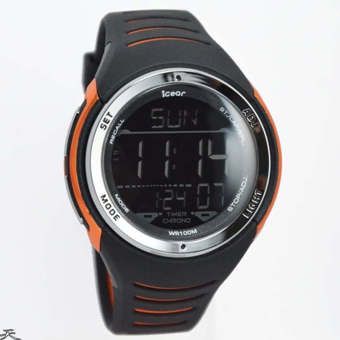 iGear Watch Digital- i16 Black - Jam Tangan Sport Pria - Rubber Strap - Merah