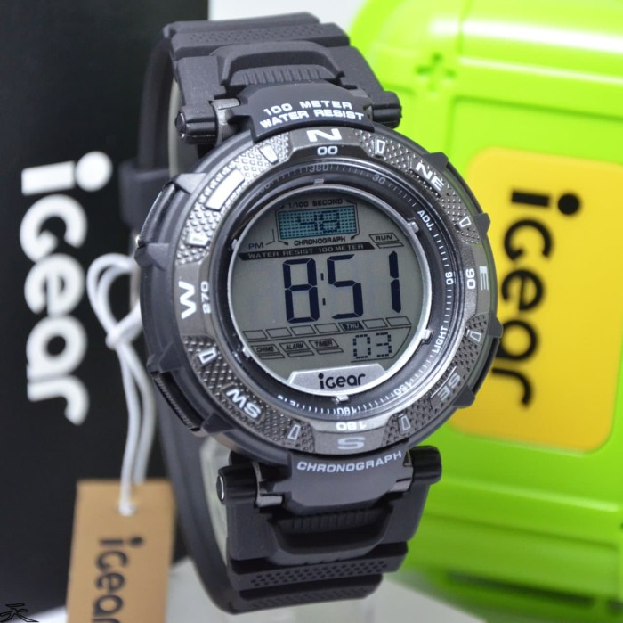 iGear Watch Digital- i31 Black - Jam Tangan Sport Pria - Rubber Strap - Merah