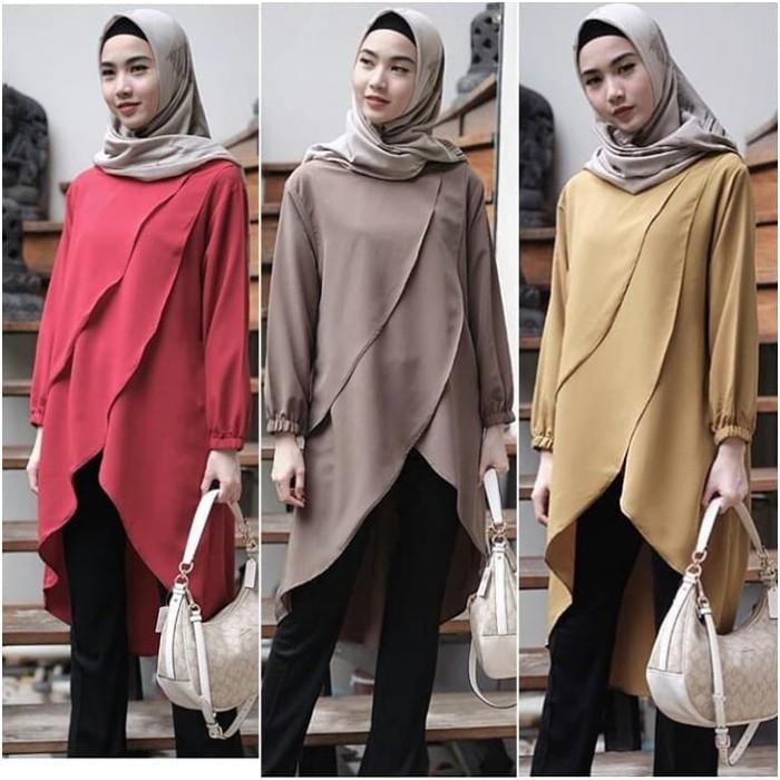 83b6b2bfc3bb04 Baju Atasan Wanita Desmira Tunik Blouse Baju Muslim Blus muslim - Maroon