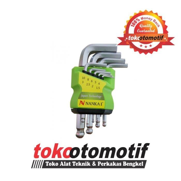 Kunci L Set Ballpoint Pendek 9 pcs 1.5-10 mm Merk NANKAI