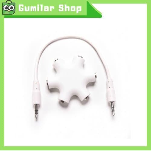 harga 6 way ports male to 5 female audio earphone 3.5mm jack Tokopedia.com