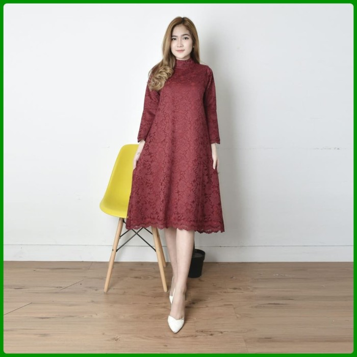 Jual Dress Brokat Modern Mini Dress Brokat Baju Kekinian Gaun Pesta Mewah Maroon Dki Jakarta Alfa Shop Accessories Tokopedia