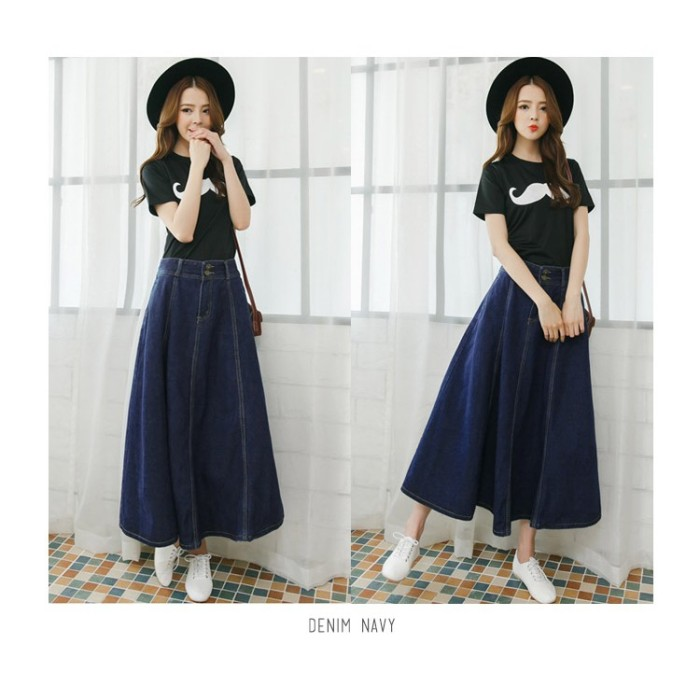 TOKO AFINA KARAKOREA 6065 Circle Pocket Denim Flare Skirt Rok jeans