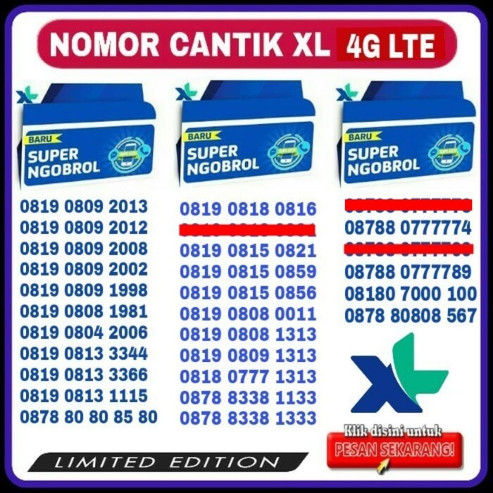 harga Kartu perdana nomor cantik xl telkomsel simpati as loop indosat im3 Tokopedia .