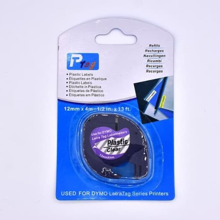 harga Dymo letratag label tape clear plastic 12mm Tokopedia.com