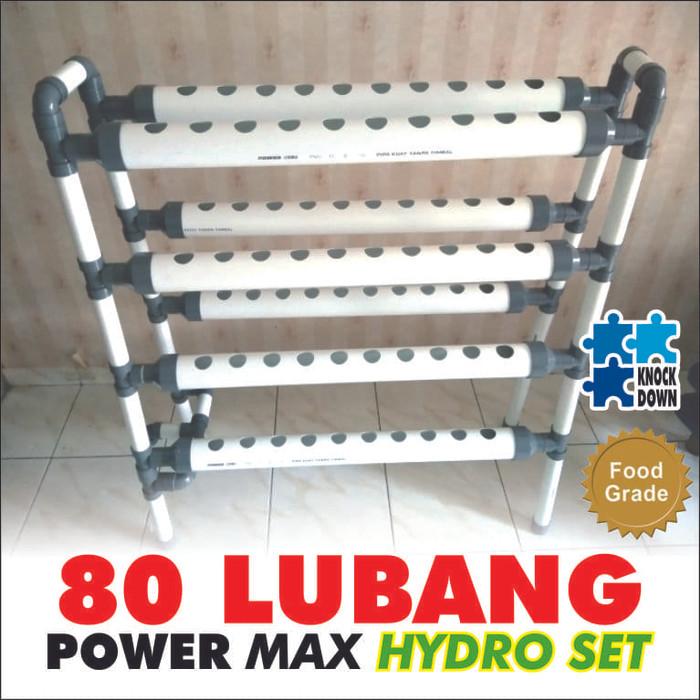 Foto Produk 80 lubang power max HIDROPONIK NFT / DFT Set + Bonus dari Helook Hydro Shop