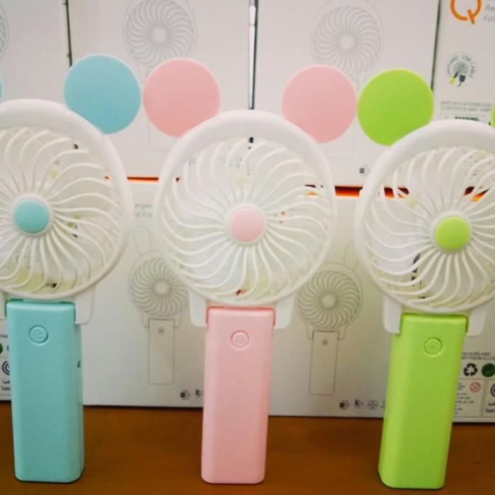 Kipas Angin Tangan Portable Karakter ( Mini Fan) - Biru Muda