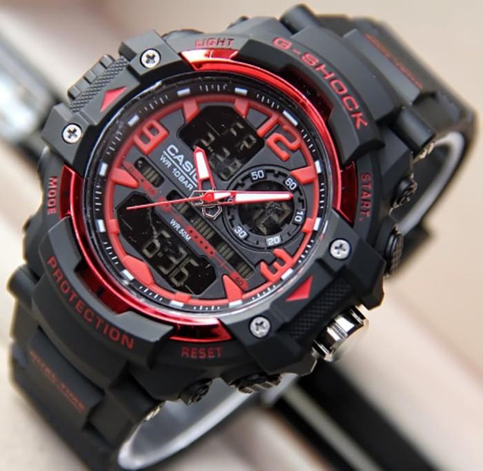 Jam Tangan Pria Sport New GN8600 Black Red Diskon