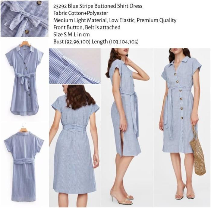 harga Blue stripe buttoned shirt dress (size sml) -23292 Tokopedia.com