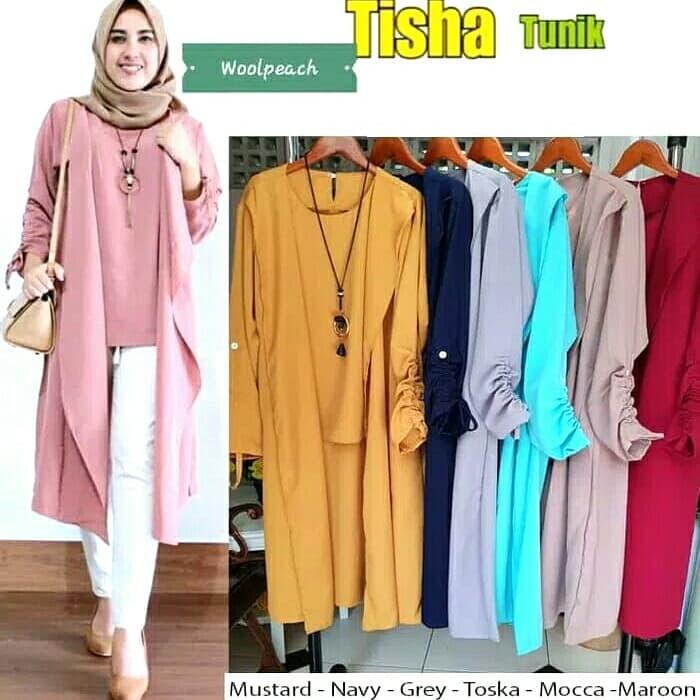 5f4dc00931ccf3 Baju Atasan Wanita Tisha Tunik Blouse Baju Muslim Blus Muslim - murah2
