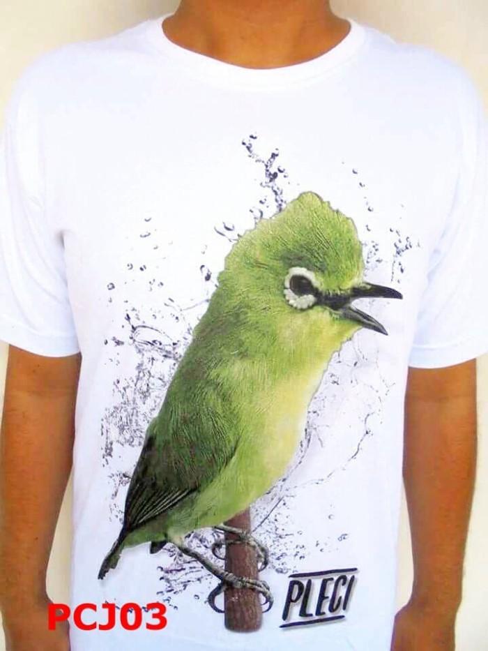 Kaos Pria Kaos Kicau Mania Burung Pleci Pcj03 Putih