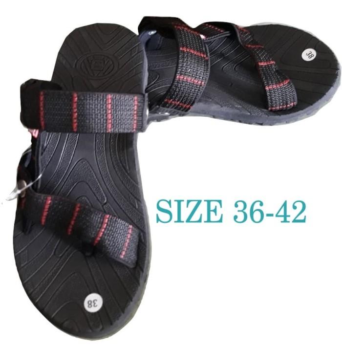 Sandal Gunung - Sandal Selop - Sandal Pria Erger - Hitam List Merah
