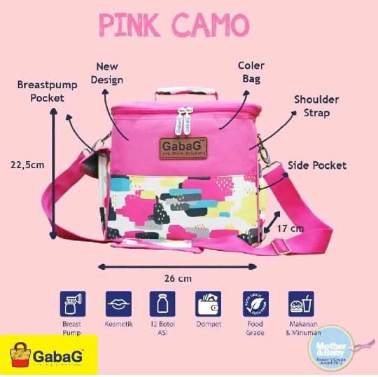 Tas gabag sling camo pink series / cooler bag / tas penyimpan asi