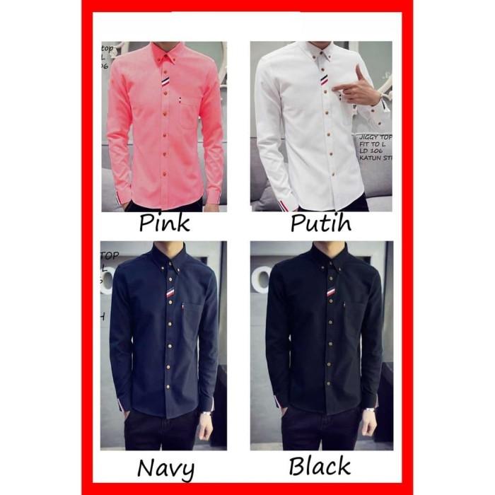 Kemeja Pria Lengan Panjang Warna Pink,Putih,Navy,Hitam Katun Stret M,