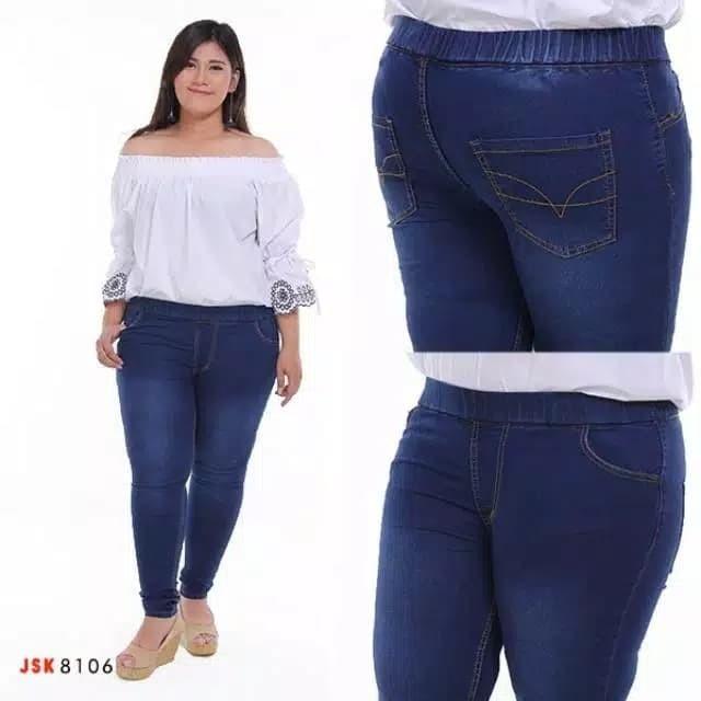 Size 35 -42 Celana Legging wanita Jeans Pinggang Karet 4 Warna - Navy, 41