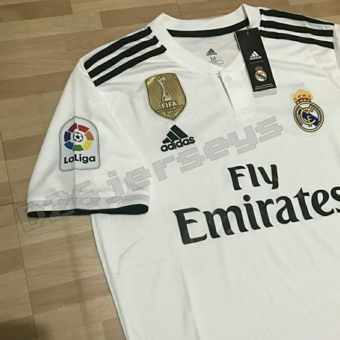 6e28b996ff8 Jual Jersey Real Madrid home 2018   2019 + Cetak nama FONT La Liga + ...