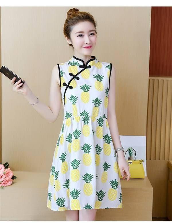 Pineapple Print Cheongsam Dress Terusan Qipao Nanas Longgar Loose